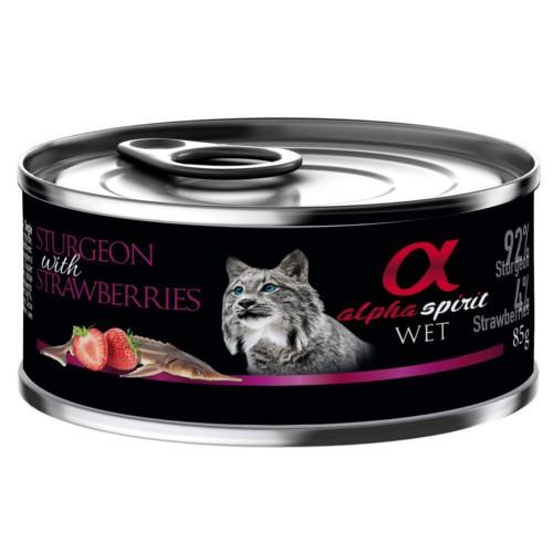 Alpha Spirit húmedo esturion con fresas para gatos