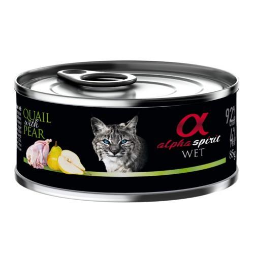 Alpha Spirit húmedo codorniz con pera para gatos