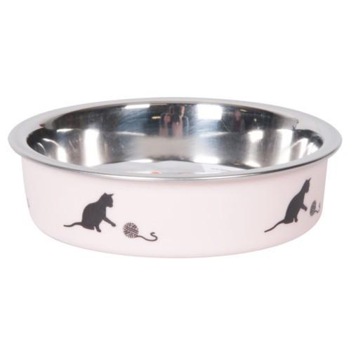 Comedero acero inoxidable rosa con gatos