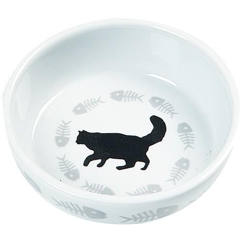 Comedero de cerámica gato y pescados