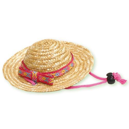 Sombrero de paja rosa para perros