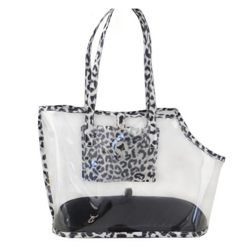 Bolso transparente Leopard B&N para perros y gatos