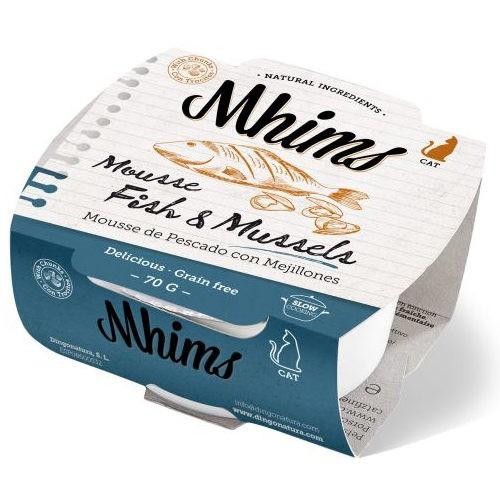 Mhims Mousse pescado blanco con mejillones para gatos