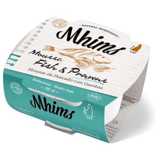Mhims Mousse pescado blanco con gambas para gatos