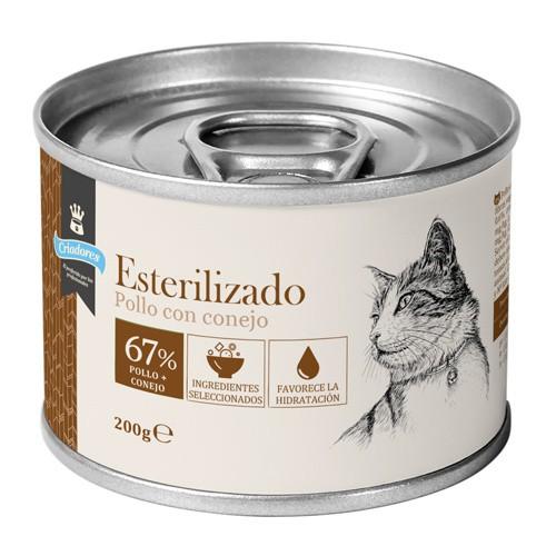 Criadores húmedo gatos esterilizados Pollo y Conejo