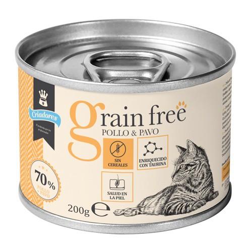 Criadores Grain Free húmedo Pollo y pavo para gatos