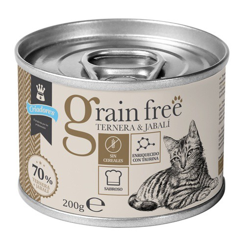 Criadores Grain Free húmedo Ternera y jabalí para gatos