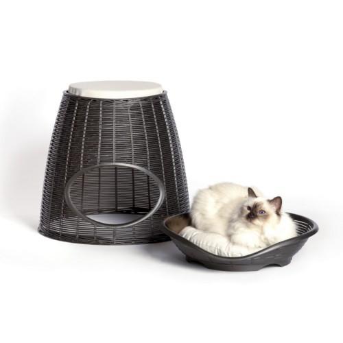 Cama cueva de mimbre para gatos gris