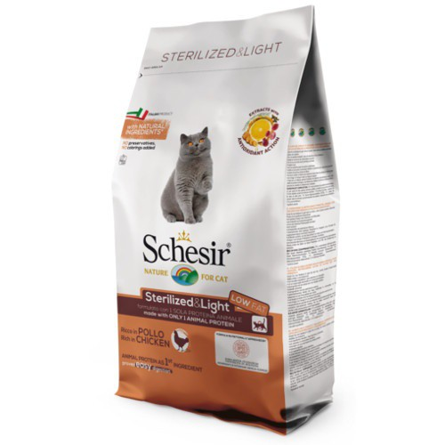 Pienso para gatos Schesir Sterilized & Light pollo