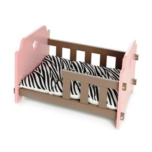 Cuna de madera para perros y gatos rosa