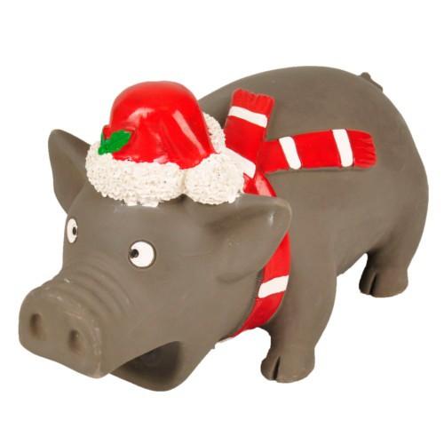 Cerdo con gorro de Navidad para perros