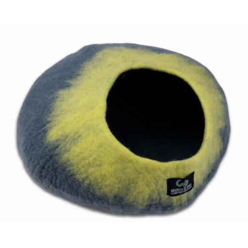 Cueva de lana para gatos gris y amarillo