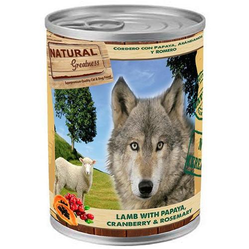 Natural Greatness Cordero y papaya para perros