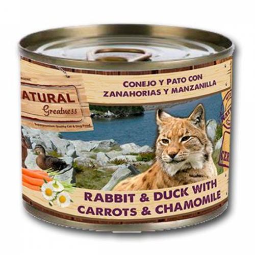 Natural Greatness Conejo, pato y zanahoria para gatos