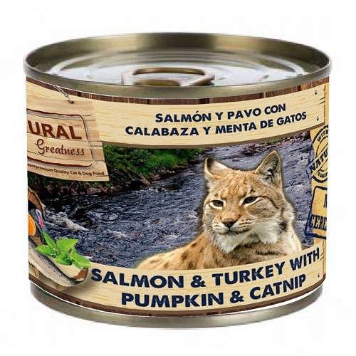 Comida húmeda Natural Greatness Salmón, pavo y calabaza para gatos