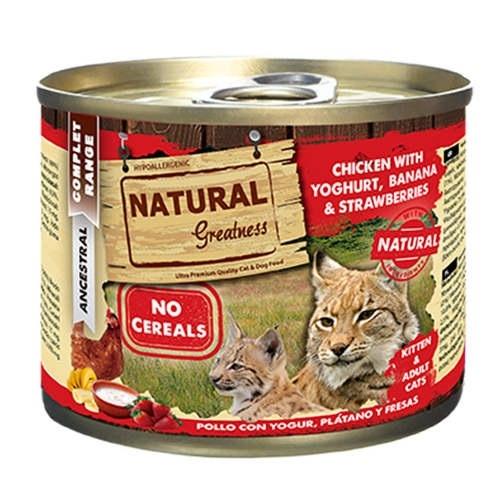 Comida húmeda Natural Greatness Pollo y Yogur para gatos
