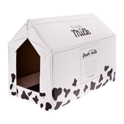 Caseta de cartón Milk con rascador y catnip