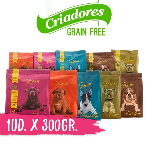 Muestra de pienso Criadores Grain Free para perros