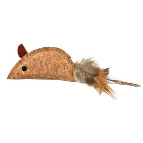 Ratón de corcho con plumas para gatos