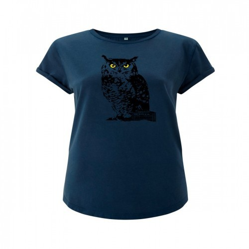 Camiseta búho mujer color Azul