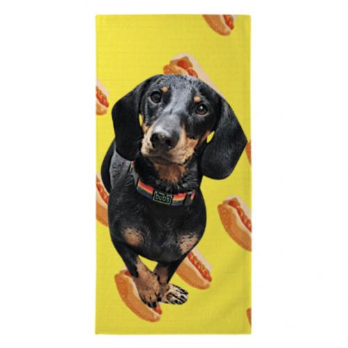 Toalla de playa personalizada perritos calientes color Amarillo