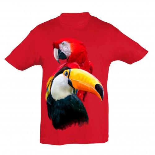 Camiseta para niños Ralf Nature loro y tucán color rojo