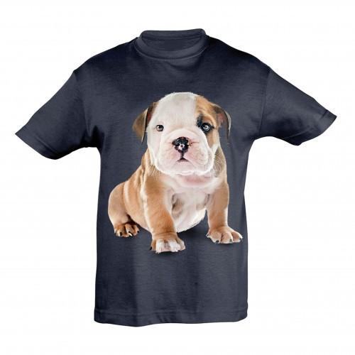 Camiseta Niño Bulldog Inglés color Azul