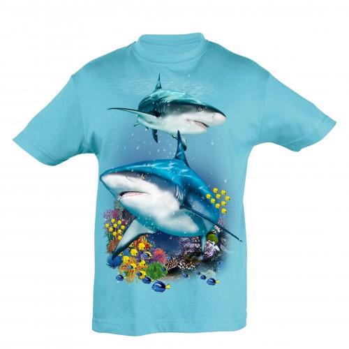 Camiseta Niño Tiburones y arrecife color Azul