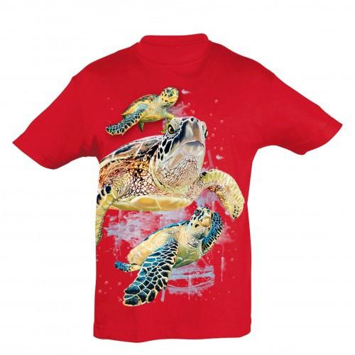 Camiseta Niño Tortugas amigas color Rojo