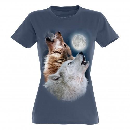 Camiseta para mujer Ralf Nature lobos color azul