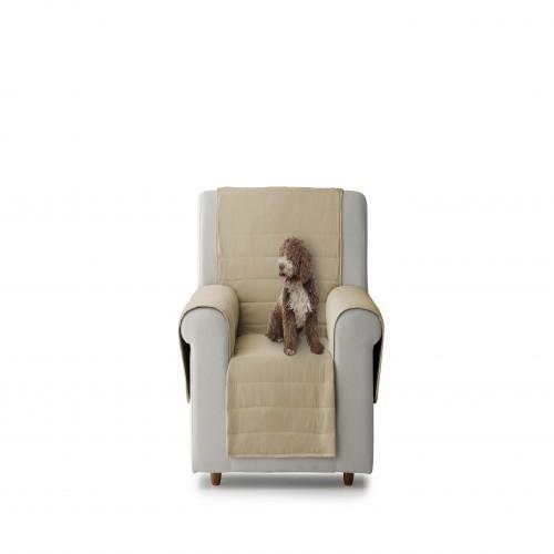 Cubre sillón acolchado reversible color Crudo