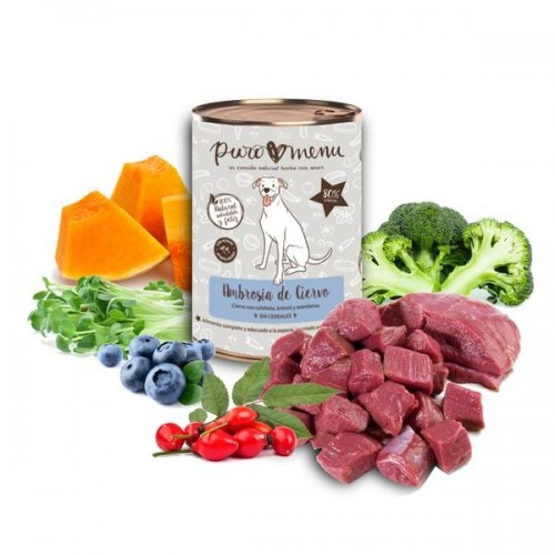 Pack de 12 latas de comida húmeda para perros Puromenu sabor ciervo