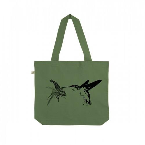 Bolsa de tela Animal Totem algodón orgánico colibrí
