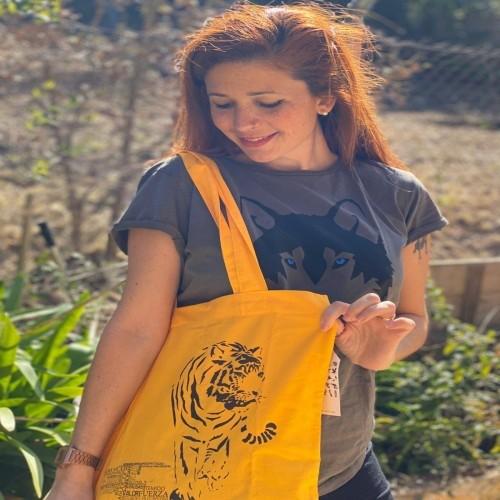 Bolsa de tela Animal Totem con tigre de color amarillo