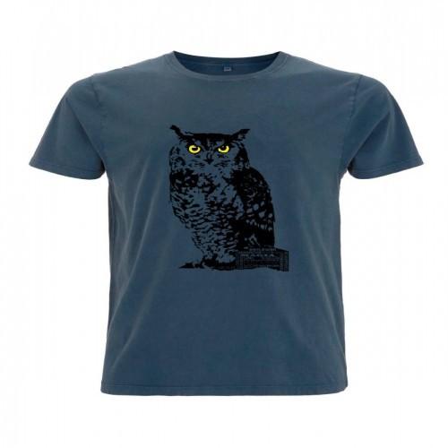 Camiseta para hombre Animal Totem búho color azul