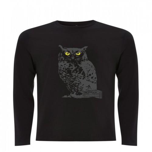 Camiseta unisex búho color Negro