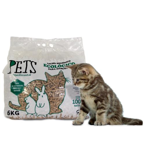 Lecho para gatos higiénico ecológico de madera natural