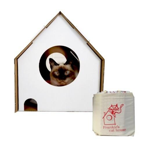 Casa de cartón Frankie´s Cat House color Blanco