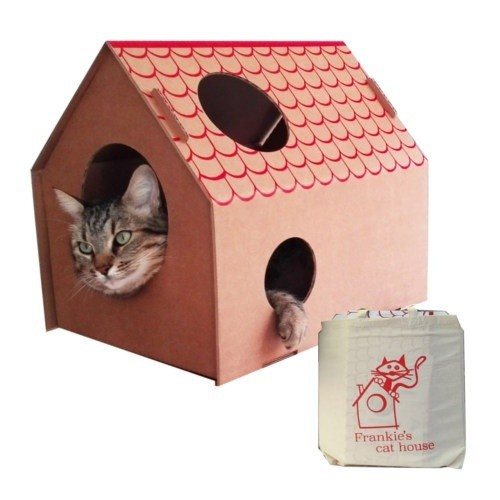 Casa de cartón Frankie´s Cat House color Marrón