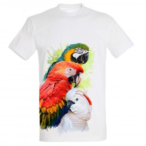 Camiseta Loros y Cacatúa color Blanco