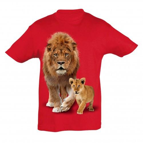 Camiseta Niño León y cría color Rojo
