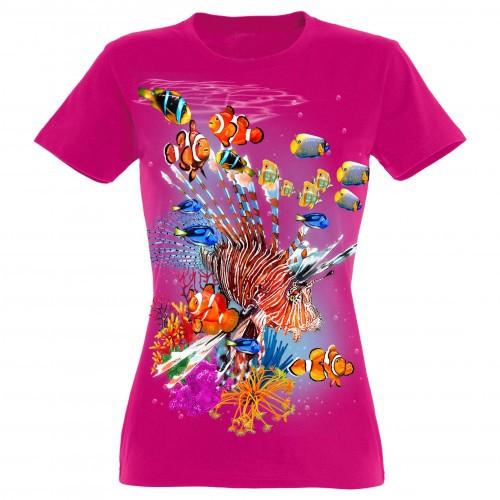 Camiseta Mujer Colores tropicales color FUCSIA