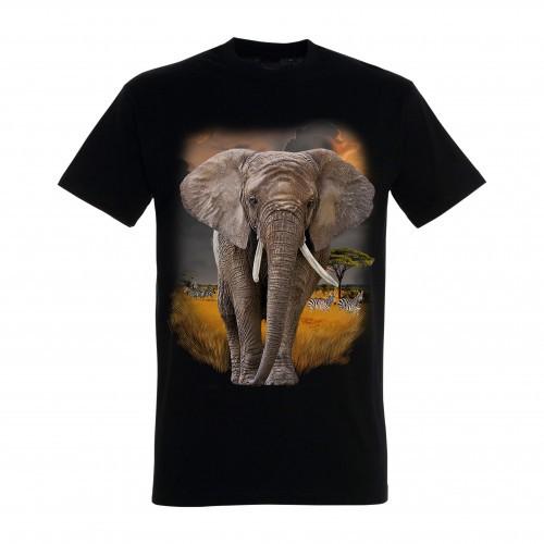 Camiseta Elefante Sabana color Negro