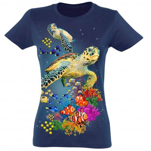 Camiseta Mujer Tortugas color Azul