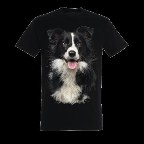 Camiseta unisex negra con estampado border collie