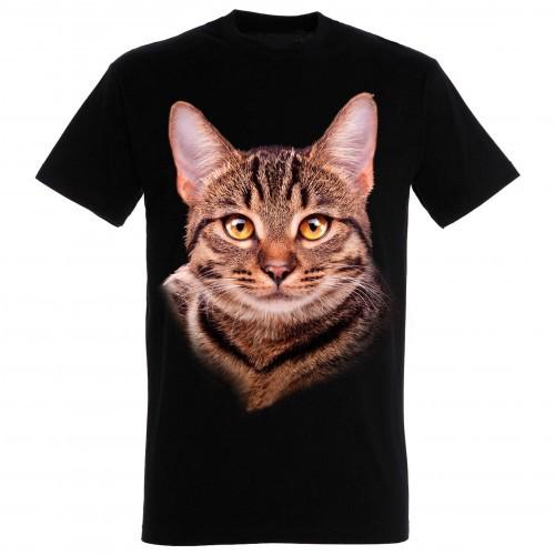 Camiseta unisex negra con estampado de gato europeo