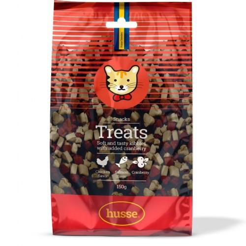 Premios Husse Treats para gatos sabor Arándanos, Pollo y Salmón