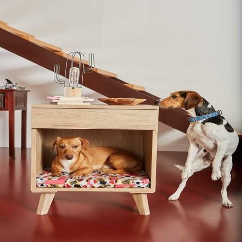Mesilla de madera cama para perros color Rojo