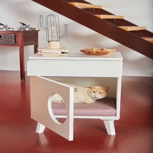 Mesilla de madera Cama para gatos color Rojo