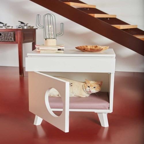 Mesilla de madera Cama para gatos color Rosa